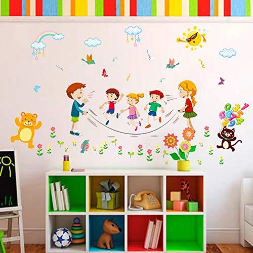 KLBNFTXMK Cartoon Joyful Animal Springseil Sport Wandaufkleber Für Kinder Schlafzimmer Schulzimmer Dekoration Aufkleber & Poster
