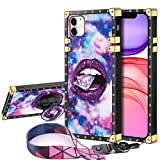 JAKPAK Case for iPhone 11 Case with Kickstand for Girl Women Soft TPU Luxury Case with Strap Shockproof Protective Heavy Duty Metal Cushion Reinforced Corners Case for iPhone 11 6.1 inch Purple Lip