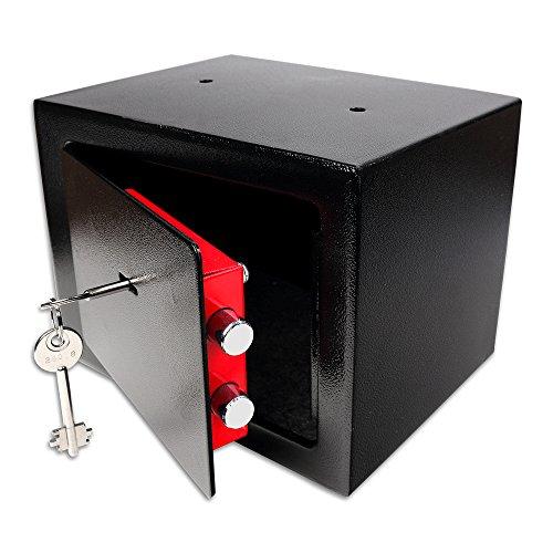 Schramm® Safe Tresor mit Schloss Minisafe Minitresor Wandtresor Möbeltresor Wandsafe mit Schlüssel Schwarz