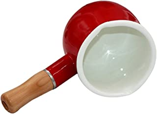 BESTONZON Enamel Milk Pan Butter Warmer Two Pour Spouts Mini Cooking Pot for Noodle Butter Coffee Baby Food