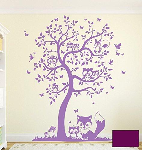 Wandtattoo Wandaufkleber Eulen Eulenbaum Eulenwandtattoo M1542 - ausgewählte Farbe: *Lila* - ausgewählte Größe: M - 100cm breit x 122cm hoch