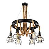 Vintage Chandelier, Bigfish Retro Steampunk Farmhouse Rope Ceiling Pendant Light with Cage Shades, 6-Head Industrial Ceiling Light Multiple Adjustable Hanging for Kitchen Island Dining Room Bar