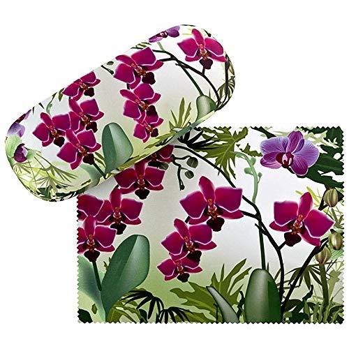VON LILIENFELD Brillenetui Geschenk Stabil Set mit Putztuch Blumen Damen Herren Floral Orchideen