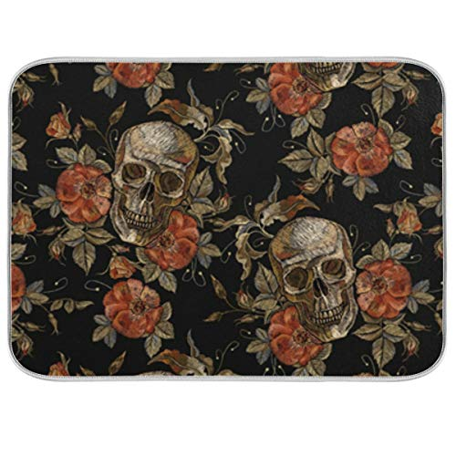 UMIRIKO Skull Flowers Halloween Gorgeous Noble Dish Drying Mat Absorbent Reversible Dish Drying Rack Pad for Kitchen Counter 18x24in 2020228