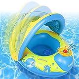 Paredix Flotador de Piscina para bebés con Sombrero para el Sol y Asiento Respaldo Techo, Flotador de Piscina Inflable para niños de 12 a 36 Meses (Amarillo)