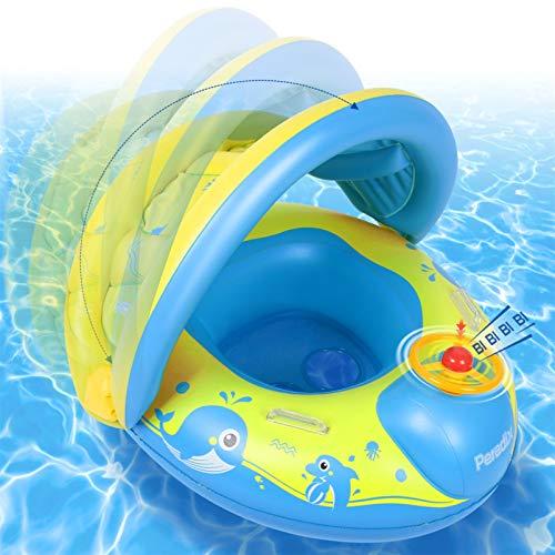 Peradix Baby Schwimmring, Schwimmhilfe mit Schwimmsitz für Kleinkind ab 12 Monate, 0.3mm PVC Schwimmbad Aufblasbares Kinderboot Spielzeug