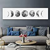 Moon Phase Wall Art Painting, Black and White Moon Canvas Print Poster Wall Art Decoration for Bedroom Living room (White)