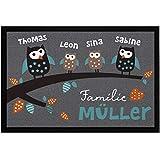 SpecialMe® Fußmatte Familie Wunschname Eulen mit Namen personalisierbar rutschfest & waschbar weiß 60x40cm