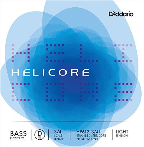 Cuerda individual Re para contrabajo Helicore de D'Addario, serie Pizzicato, escala 3/4, tensión blanda.