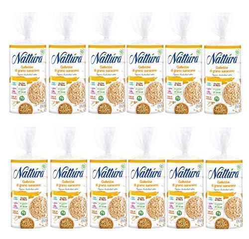 Nattura Gallette di Grano Saraceno Tonde Biologiche Senza Glutine Fonte di Fibre - 12 x 100 Gram