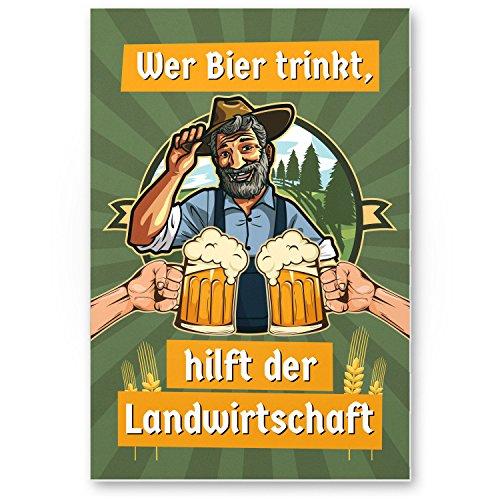 DankeDir! Bier hilft der Landwirtschaft Kunststoff Schild mit Spruch - lustiges Geschenk für ihn Geschenkidee Geburtstagsgeschenk Männer Party Deko Zubehör Scherzartikel JGA - Accessoire Fotobox