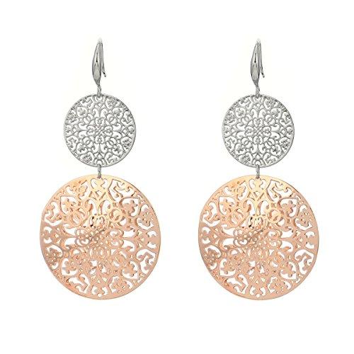 Orecchini pendenti da donna e ragazza, a forma di fiore cavo, in acciaio INOX placcati in oro rosa con cristallo e placcato Platino, colore: Silver and Gold Plated, cod. EH06127