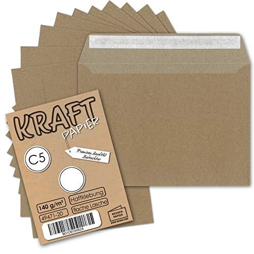 Sobres reciclados, color marrón natural, DIN C5162x 229 (material 100 % natural con certificado FSC), color DIN C5 - Haftklebung 140 g/m² 25 Umschläge