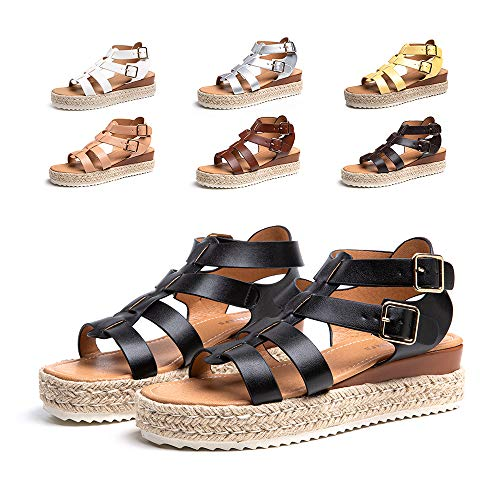 Sandalias Mujer Verano Plataforma Alpargatas Esparto Cuña Zapato Punta Abierta HebillaComodas Negro Talla 39 EU