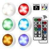 iKALULA Schrankleuchten mit Fernbedienung, RGB Schrank Lichter 6er LED Schrankbeleuchtung Dimmbar...