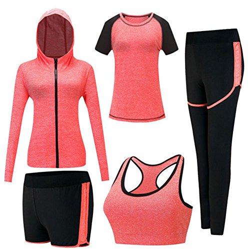 Onlyso Damen-Sport-Anzüge, 5 Stück, Fitness, Yoga, Laufen, Sportliche Trainingsanzüge - orange - Mittel