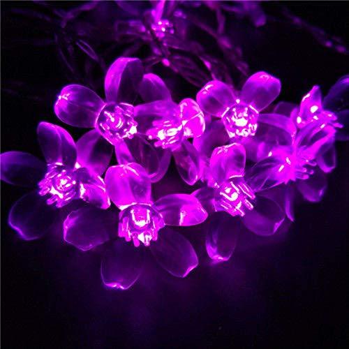 PXNH Guirnalda de flores de flor de cerezo Cadena de luces de hadas Flores de cristal para interiores Bodas Decoraciones navideñas 5M 50LED - Batería rosa