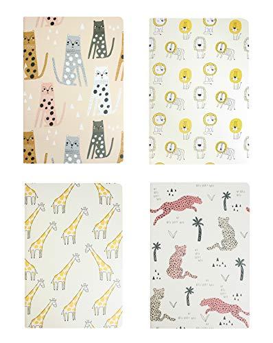 Emartbuy Animale Print Diario Quaderno di Esercizi Taccuino Giornale Blocco Notes Notebook Foderato Scrittura A5 Size 32 Fogli (64 Pagine) - Set di 4