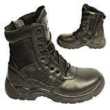 POWCOG Delta: Comfortable Black Leather Military Patrol Combat Boots with Sturdy Side Zip and <span class='highlight'>Safety</span> Steel Toe Cap - Size: 9 UK | 43 EUR
