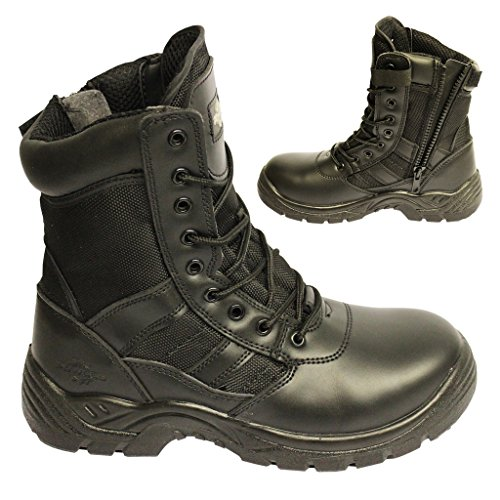 POWCOG Delta: Comfortable Black Leather Military Patrol Combat Boots with Sturdy Side Zip and Safety Steel Toe Cap - Size: 9 UK   43 EUR