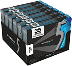 5 GUM Sugar Free Chewing Gum, Peppermint Cobalt, 35-stick pack (6 packs)