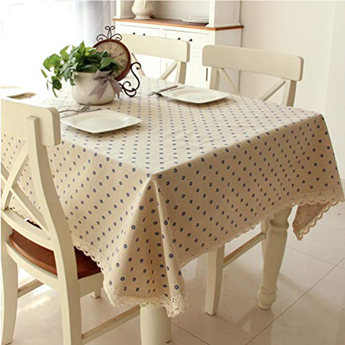 LINENLUX Stylish Square Rectangular Tablecloth/Table Cover for Kitchen Dinning Tabletop Decoration Blue Rectangle/Oblong 55 X 70 in