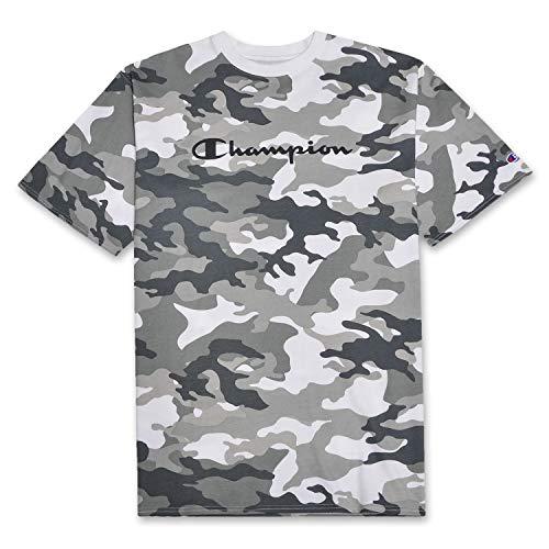 Champion Mens Big and Tall Short Sleeve Felt Script Logo Fashion Camo Tee Shirt