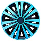 EET Universal 14 Zoll Auto Radzierblenden, Alloy Look and Light Blue Young Sport Style Radkappen Set Wheel Trims, 4Er-Set