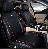Amooca Luxurious Airbag Compatible Universal Full Set Needlework PU Leather Dacron Fabric Front Rear Car Seat Cushion Cover Black 6pcs
