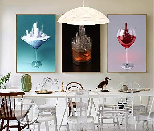 zzlfn3lv Rahmenlose nordische kreative Glasarchitektur 3 dekorative Gemälde Wandkunst Druck Bilder Leinwand Malerei Wohnzimmer-58 * 80