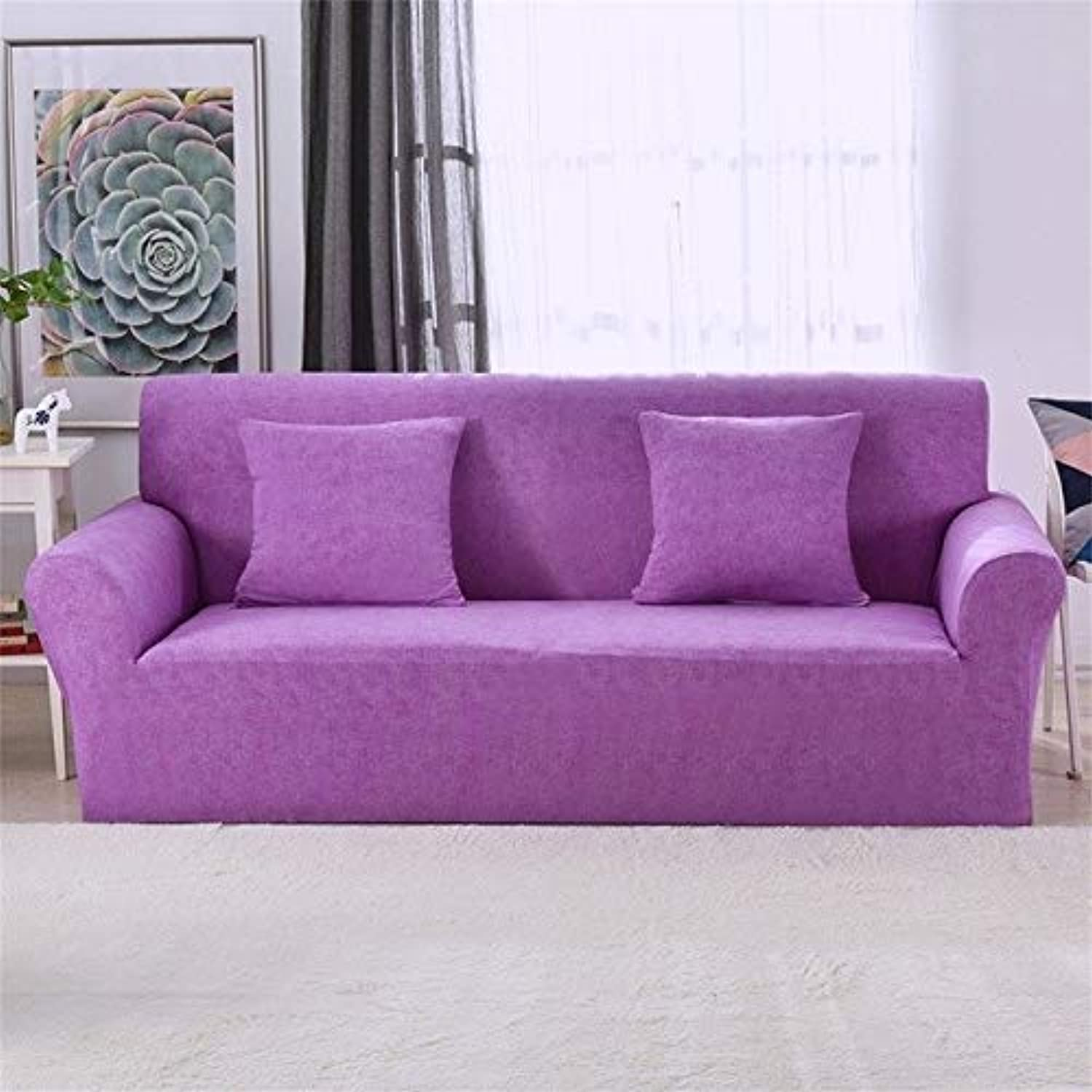Elastic Stretch Universal Sofa Covers Sectional Throw Couch Corner Cover Cases for Furniture Armchairs Home Decor   Purple, 2 Seater