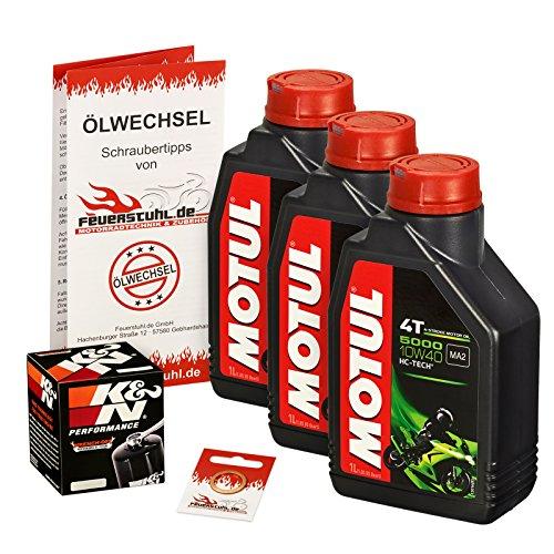 Motul 10W-40 Öl + K&N Ölfilter für Yamaha YZF-R6 /S Edition, 06-15, RJ11 RJ15 - Ölwechselset inkl. Motoröl, Filter, Dichtring