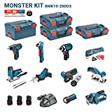 BOSCH Kit 12V BMK10-28DD3 (GSR 12V-15 + GDR 12V-105 + GKS 12V-26 + GWS 12V-76 + GST 12V-70 + GOP 12V-28 + GSA 12V-14 + GWB 12V-10 + GLI 12V-80 + GHO 12V-20)