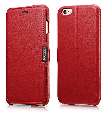 ICARER Hülle passend für Apple iPhone 6S Plus & iPhone 6 Plus (5,5 Zoll), Handyhülle mit echtem Leder, Hülle, Schutz-Hülle, dünne Handytasche, Slim Cover, Rot