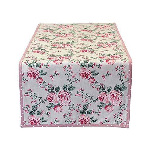 MAGNUS REGALO Camino de mesa de algodón con flores 45 x 140 cm 90043