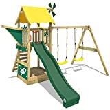 WICKEY Wooden Climbing Frame Smart Chase with Swing Set and Green Slide, Outdoor Play Tower for Kids with Sandpit, Climbing Ladder & Play-Accessories