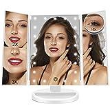 Espejo de Maquillaje con 21 Luces LED, Mesa Triple Espejo de tocador Espejo de Aumento 1X / 2X / 3X / 10X Rotación de 180 ° Pantalla táctil Fuente de alimentación Dual Espejo cosmético Blanco