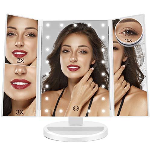 Espejo Maquillaje con Luz Aumentos 1X, 2X, 3X, 10X, Regulable Espejo Maquillaje Tríptica con Pantalla Táctil, Espejo Tocador de 180 ° Rotación Apoyo Recargable o Batería (Blanco)