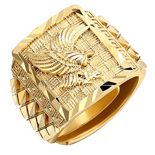 Timesuper Punk Rock Eagle Men 's Ring Gold Color Resizeable To 7-11 Finger Jewelry Never Fade