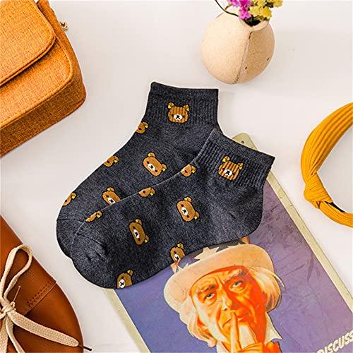 5 Pares de Calcetines de algodón Transpirables para Mujer de Dibujos Animados Lindo Oso Lindo patrón de Animal calcetín para niña Peinadode algodón Puro Calcetines Femeninos-Gray1