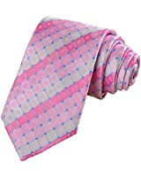 KissTies Tickled Pink Tie Grid Necktie Wedding Ties + Gift Box