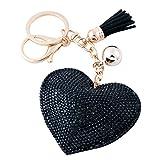Soleebee Llavero de Cuero del Corazón del Amor Encanto de la Bolsa del Coche Cristalino con Borlas Cadena de Clave (Negro)