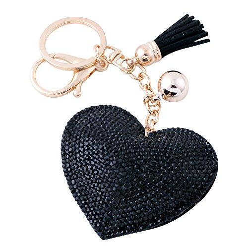 Soleebee Portachiavi in pelle cuore d'amore Bling Cristallo Portachiavi auto Fascino accessori per borse e Personalizzare Zaino con le nappe (Nero)