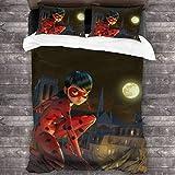 Juego de cama de 3 piezas de 218 x 177 cm, diseño de gato Lady_Bug y colección con 2 fundas de almohada brillantes impresas para dormitorio de hombres