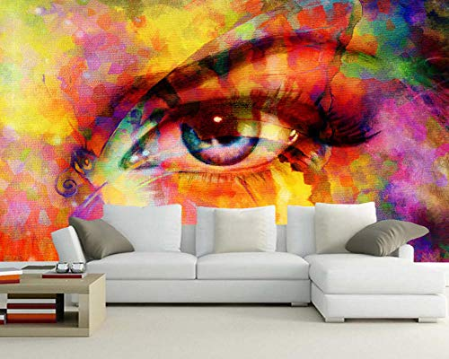 Abstract Colorful Eyes and Butterfly Mixed Watercolor 3D Wallpaper,Living Room TV Bedroom Restaurant Bar Mural 400(L) x280(H) cm