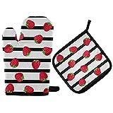 Mitones de Horno con Rayas de Fresa, Soportes para ollas, Guantes para Horno de Frutas de Verano, Almohadillas Calientes para cocinar, Almohadillas Calientes Resistentes