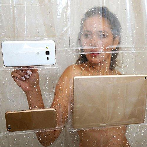 Le rideau de douche transparent avec poches Leegoal