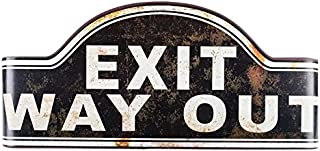 Black Curved Vintage Exit Way Out Tin Sign