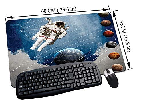 Alfombrilla Raton Gaming,Espacio exterior, círculos planetarios con figuras geométricas Neptuno Astral Rocket Vin,Impermeable con base de goma antideslizante, PC y laptop comfortable mouse pad