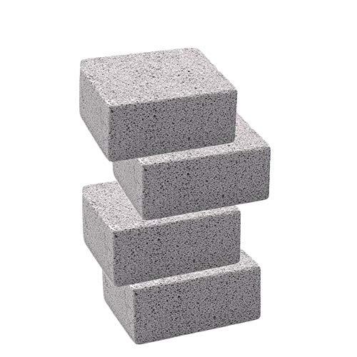 Magiin - Lote de 4 ladrillos de limpieza de piedra pómez gris para limpiar parrillas, desinfecta las parrillas de restaurante con tapa plana, planchas
